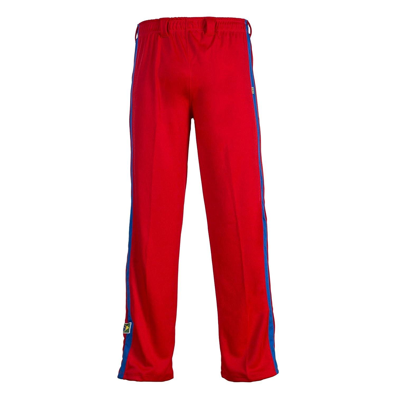 JLSPORT Authentische Brasilianische Capoeira Kampfsport M/änner Hosen Rot Mit Blau Und Wei/ß Vertikale Bein Streifen