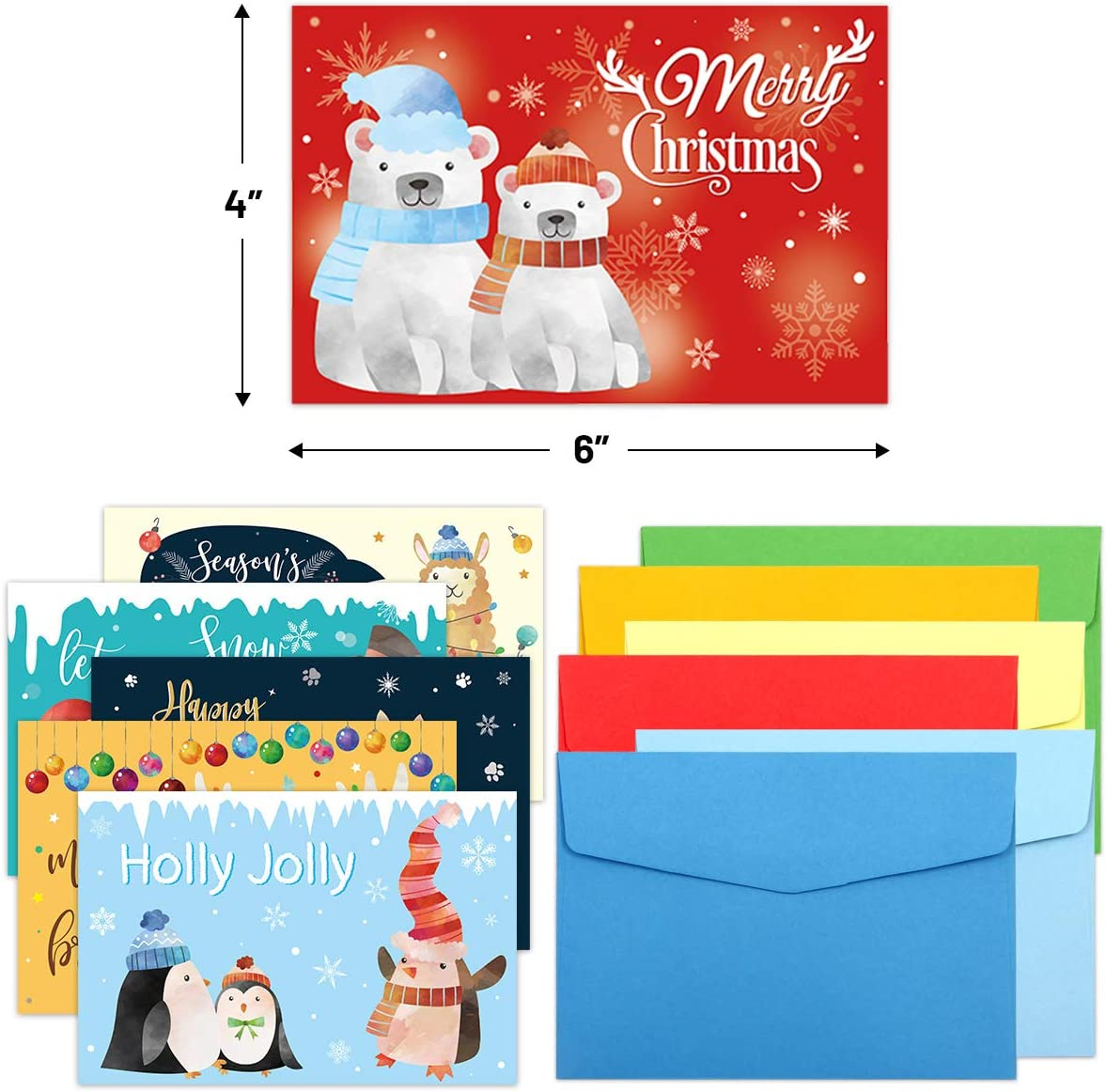 36 Holiday Cards with Envelopes Christmas Greeting Cards Blank Note Cards office School Home Party Invitation Supply