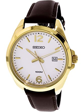 Amazon Com Seiko Quartz Gents Leather Strap Watch Seiko Watches