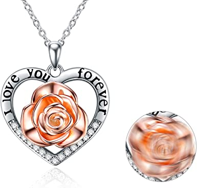 Silver Rose Gold Two Tone Flower Pendant Necklace
