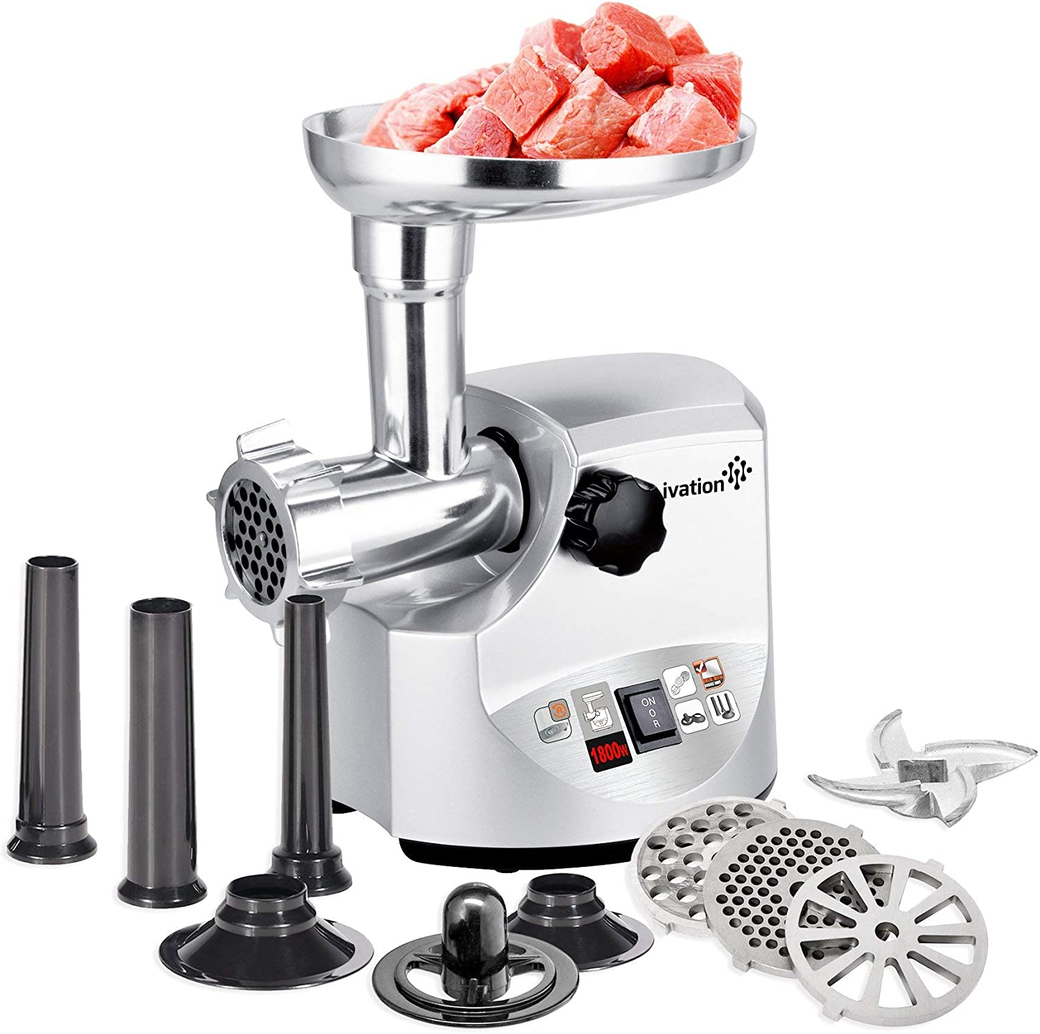 Ivation 2.5hp Electric Meat Grinder Mincer 1800 Watt, Sausage Stuffer – Heavy Duty – 3 Stainless Steel Cutting Blades, Sausage Stuffing Tubes Kibbe Attachment – ETL Certified