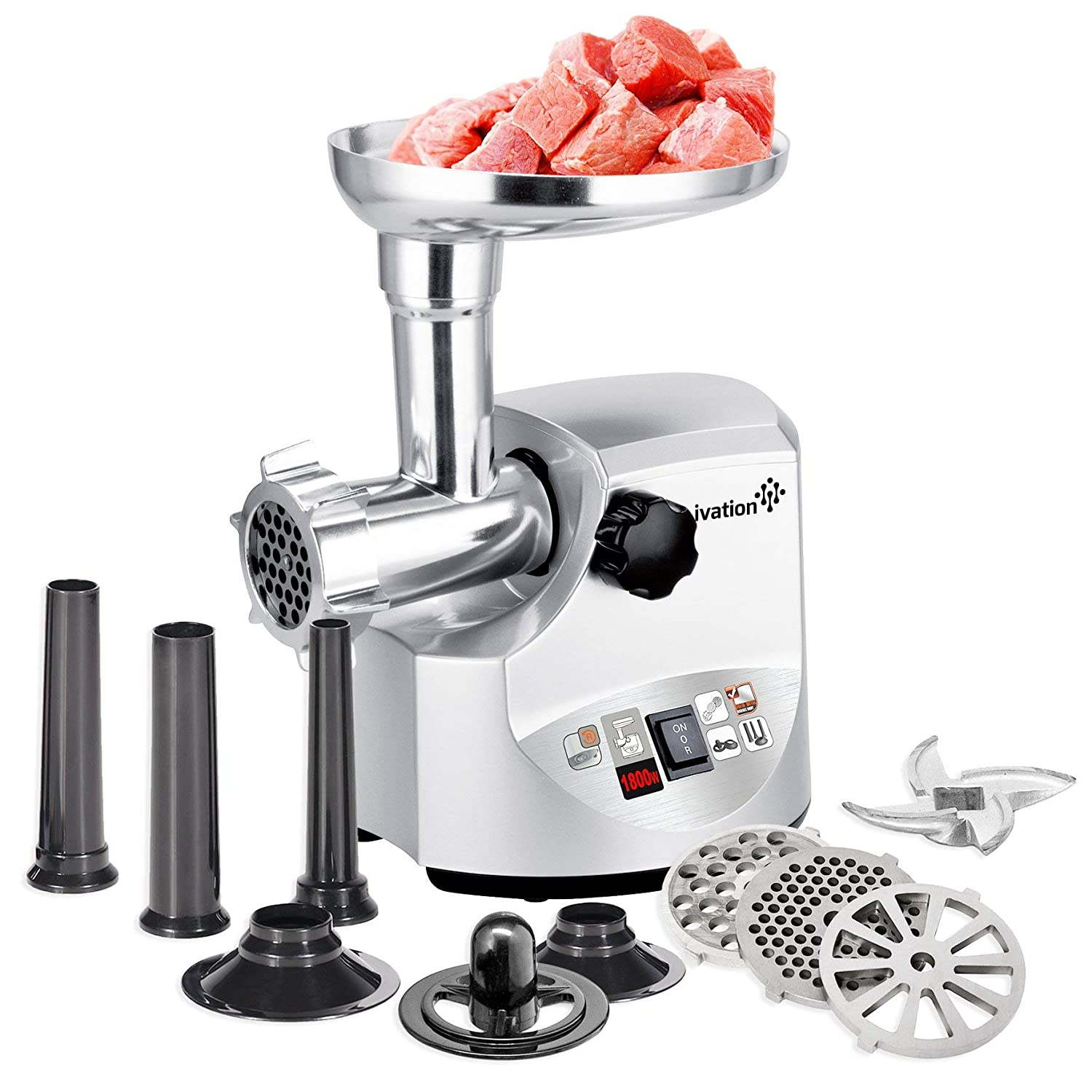 Ivation 1hp Compact Electric Meat Grinder Mincer & Sausage Stuffer, Upgraded Metal Gear System, 5pc Accessory Kit with 3 Stainless Steel Grinding Plates, Sausage Stuffing Tubes & Kibbe Attachments IV-EMG061W