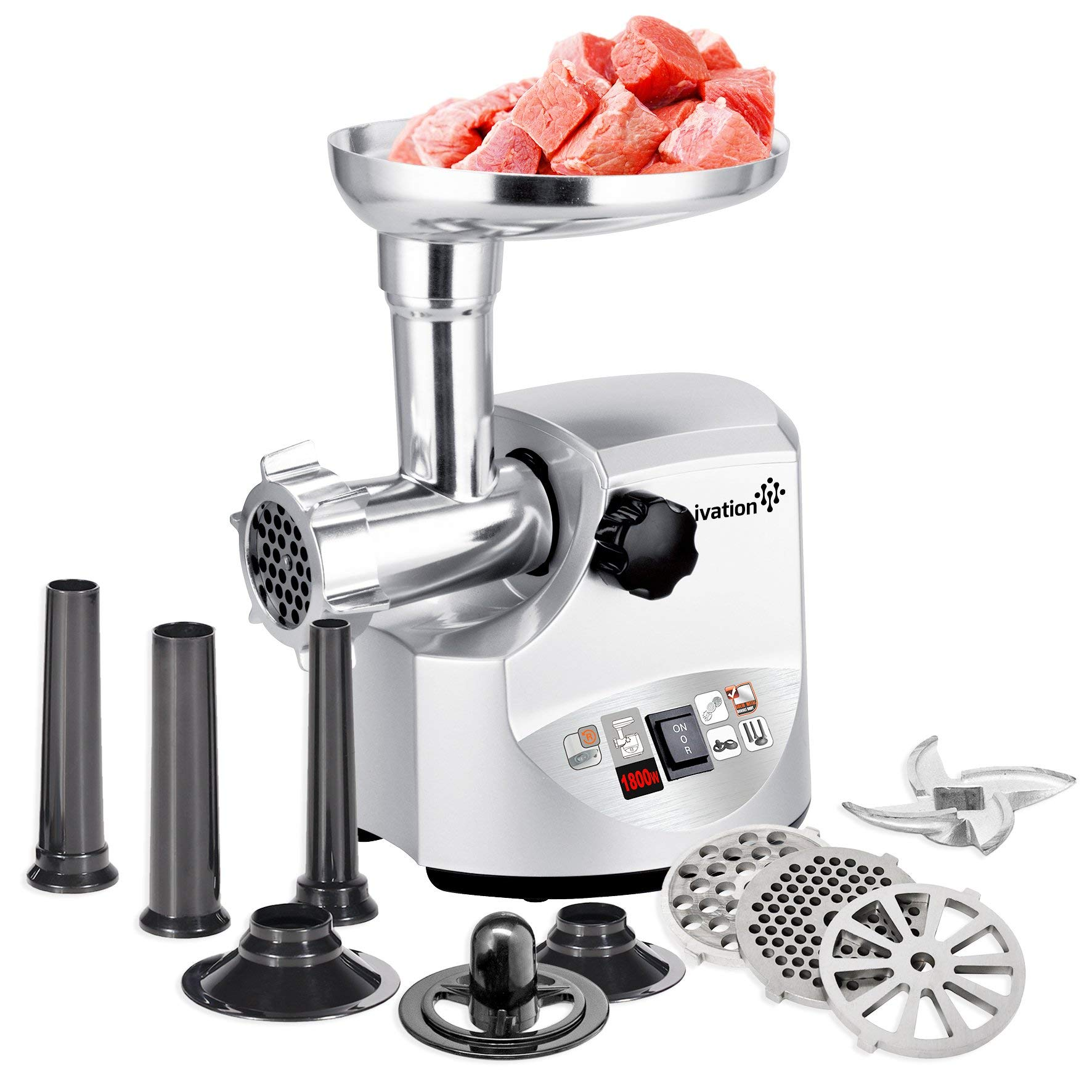 Ivation 2.5hp Electric Meat Grinder Mincer 1800 Watt, Sausage Stuffer - Heavy Duty - 3 Stainless Steel Cutting Blades, Sausage Stuffing Tubes & Kibbe Attachment - ETL Certified by Ivation