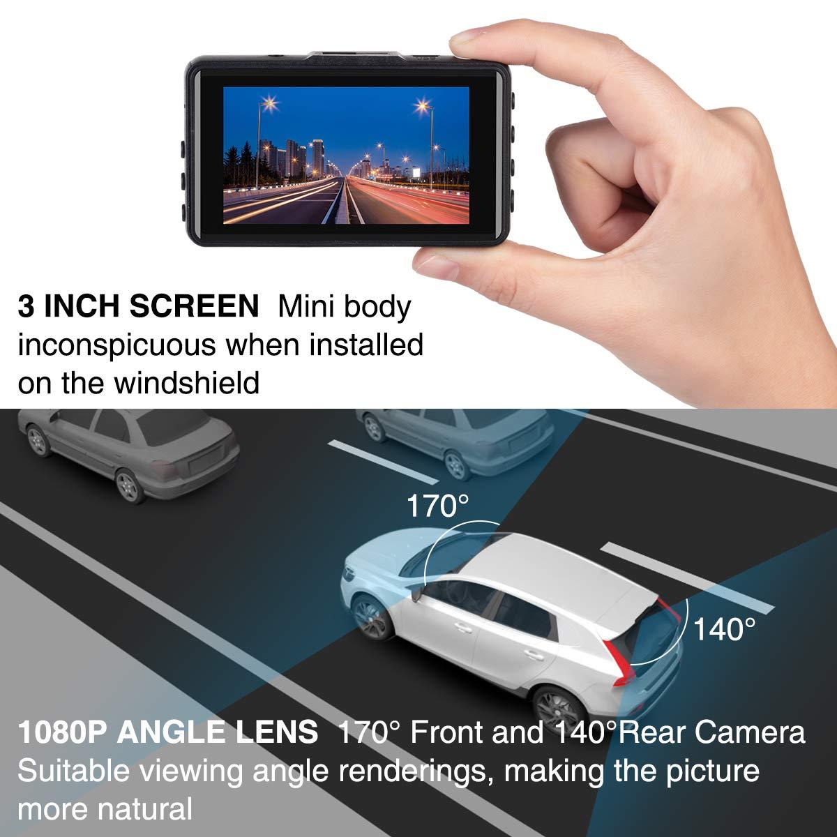 SSONTONG Dash Cam Front and Rear 1080P Full HD Dual Dash Camera 170 Wide Angle 3 Inch IPS Screen Car Camera Reversing Camera with Night Vision G-Sensor Parking Monitor Loop Recording WDR