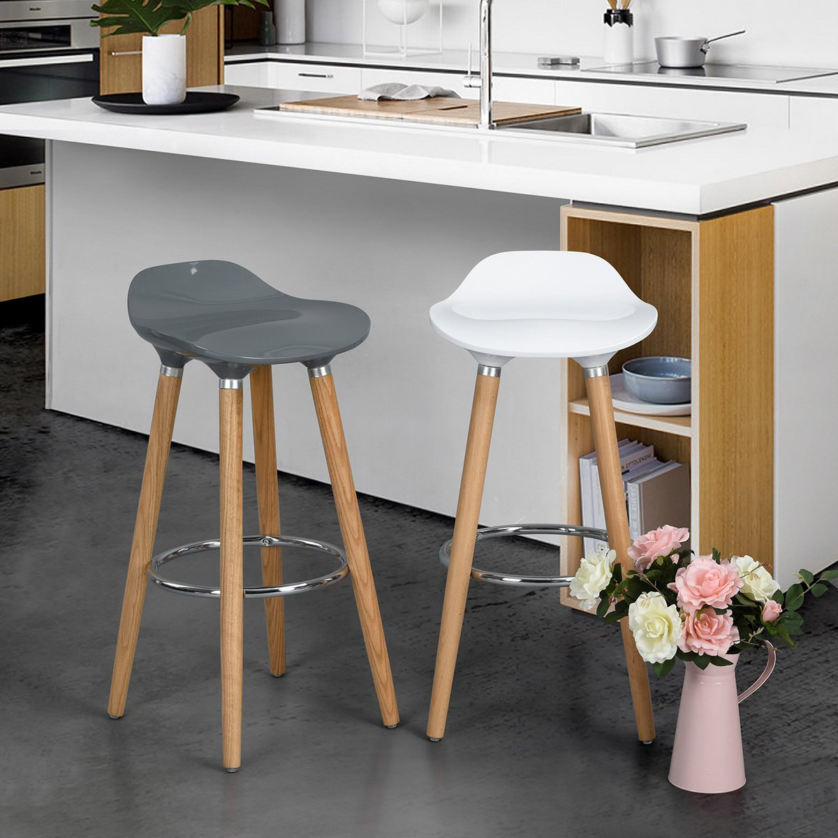 Amazon.com: House in Box Bar Stools Set of 2 Modern Counter Height Stools Pub Bar Chair Side Chairs with Wood Legs ABS Seat (White): Kitchen & Dining