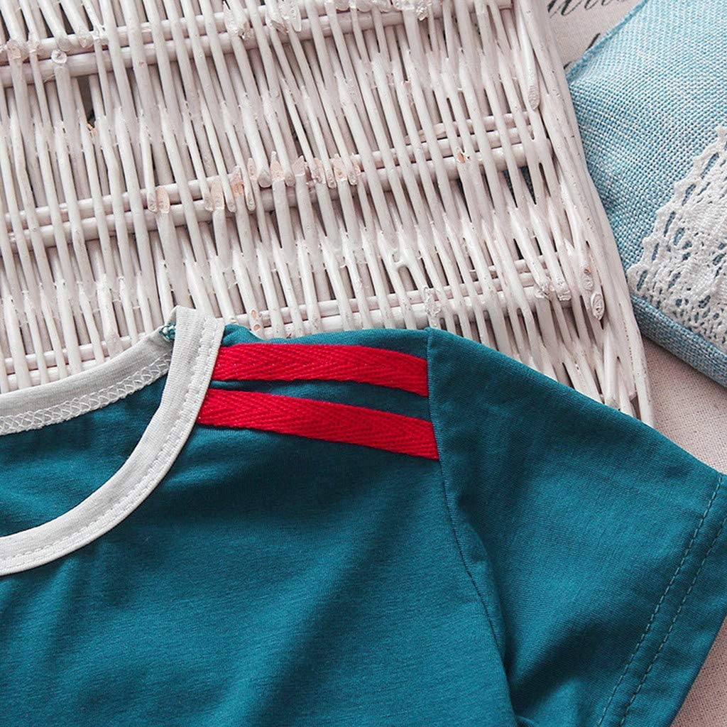 Tronet Summer Outfits Set Childrens Kids Short Sleeve Cartoon Letter Tops T-Shirt+Shorts Set Outfits