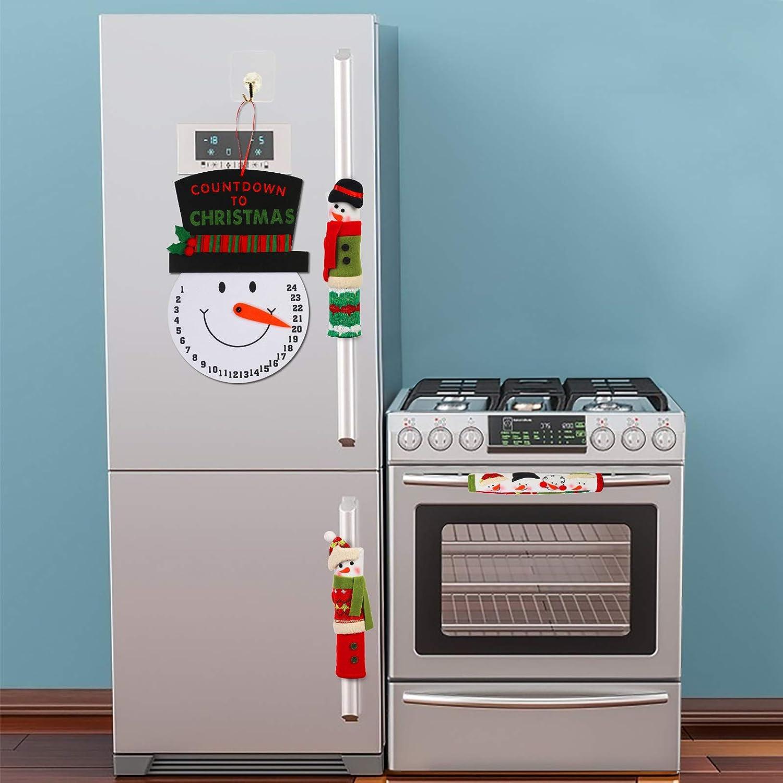 KATOOM Manija de la Puerta del Refrigerador 4pcs Cocina Guantes Nevera Navidad Lindo Muñeco de Nieve Protectores Decoración para Cocina Horno de Microondas Protector de la Puerta Cubierta de Polvo