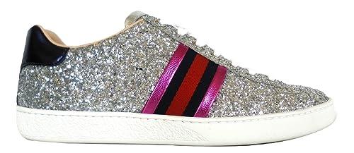 best sneakers 99768 c498a Gucci Scarpe Sneaker Bassa Ace Glitter da Donna 475213 KSP60 8167 Argento  (35 EU)