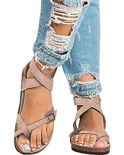 86e127923b5e Pxmoda Women s Fashion Flip Flop Gladiator Sandals Strappy Flat Sandal Shoes