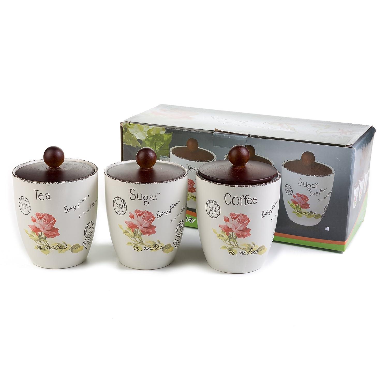 London Boutique Porcelain Tea Coffee Sugar Canister Set 3 Storage Jar White Beige Shabby Chic Retro Vintage Airtight Wood Lids Rose Large