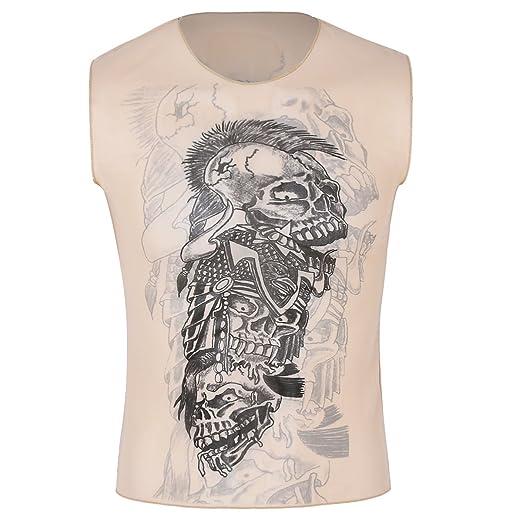 39e009fb iEFiEL Men's Summer Slim Fit Fake African Tribal Tattoo Print Sleeveless  Vest T-Shirt Tank