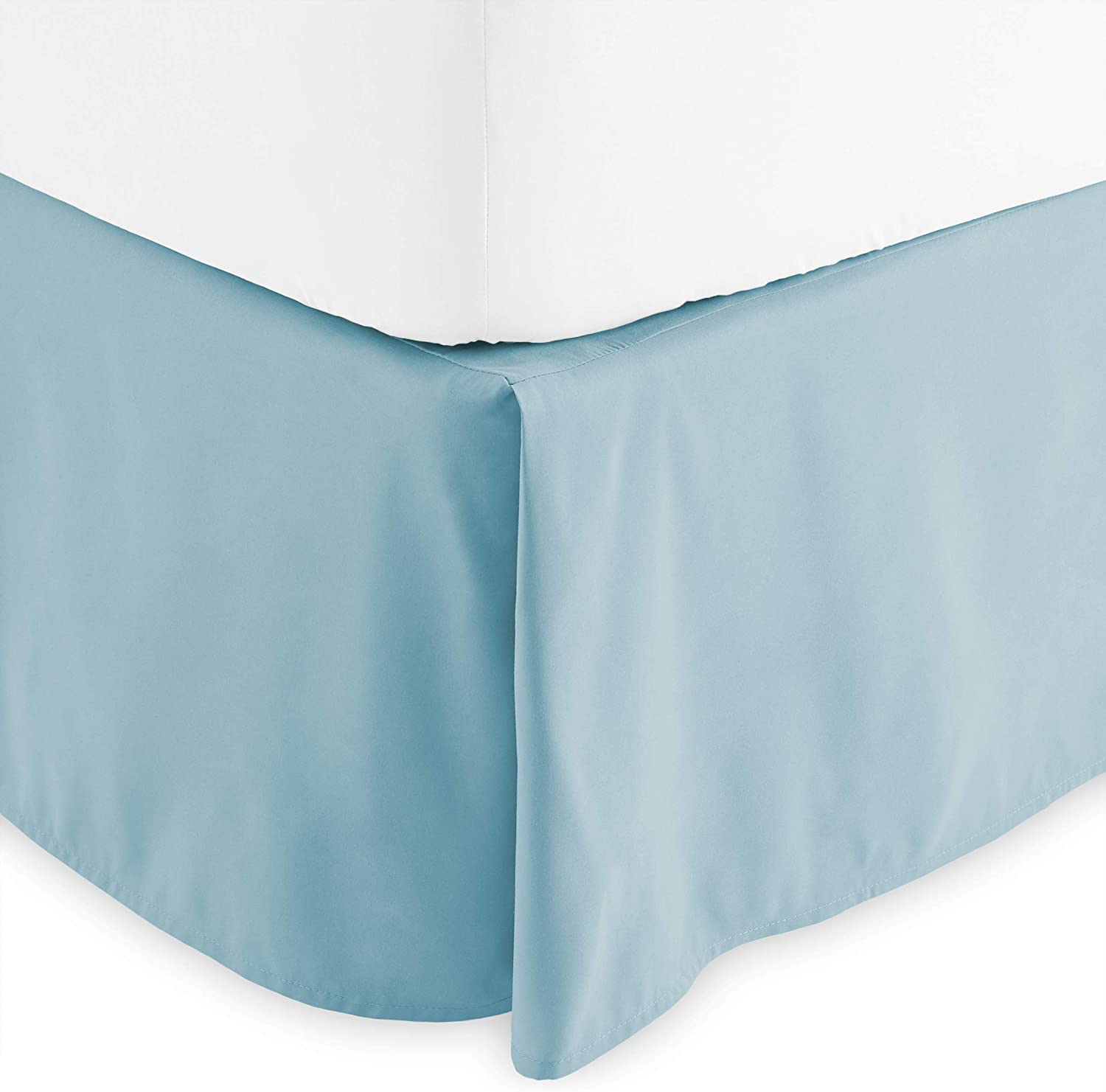 Bare Home Kids Bed Skirt Double Brushed Premium Microfiber, 15-Inch Tailored Drop Pleated Dust Ruffle, 1800 Ultra-Soft, Shrink and Fade Resistant (Twin, Light Blue)