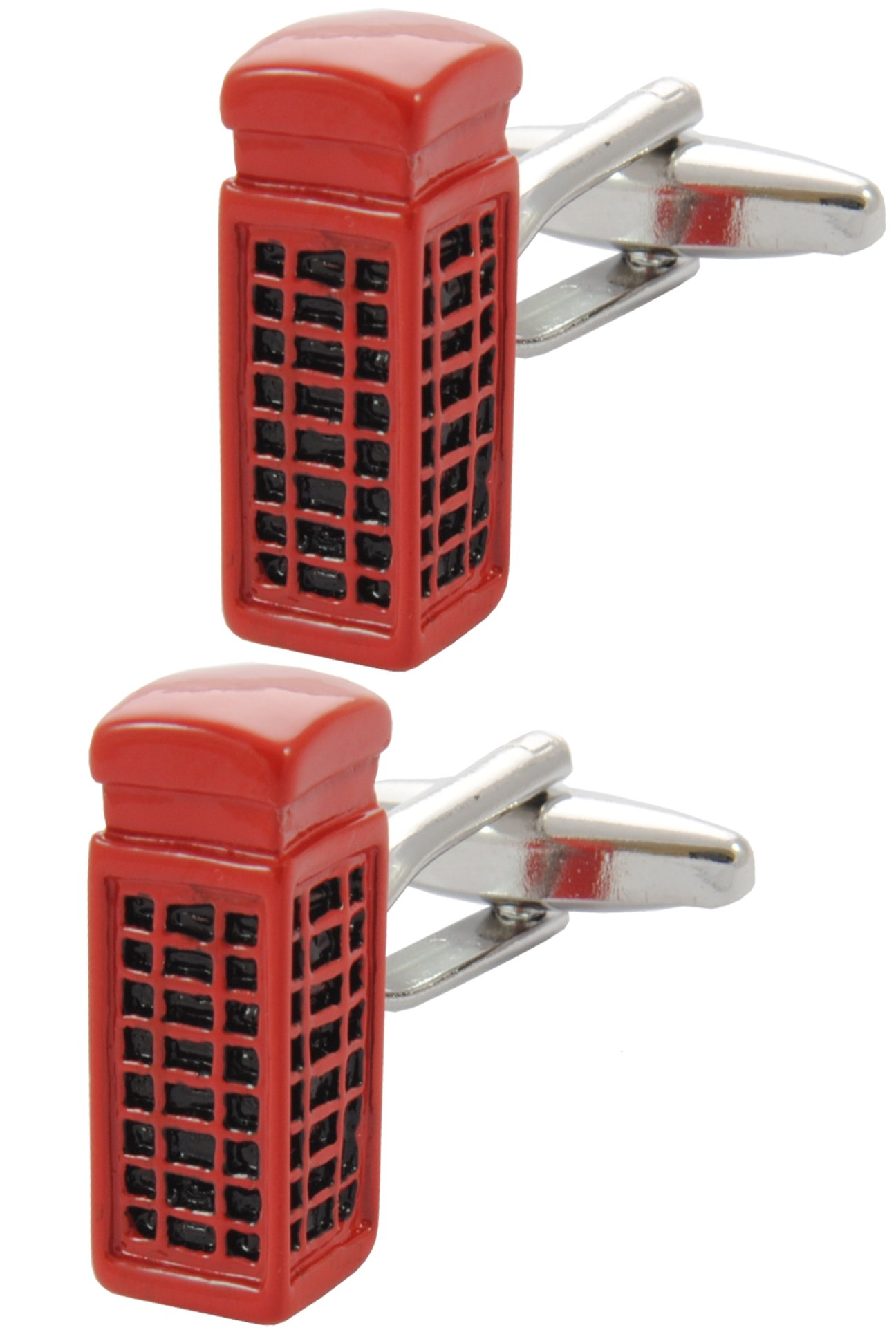COLLAR AND CUFFS LONDON - Premium Cufflinks with Gift Box - London Telephone Box - Phone England British Kiosk Crown - Red Colour by COLLAR AND CUFFS LONDON