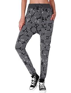 BaiShengGT Damen Baggy Sweatpants Jogginghose Boyfriend Sports Hose  All-Over Print Schwarz 8c172a6402