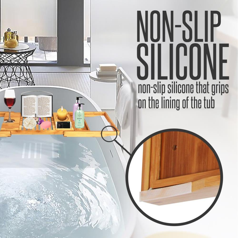 SereneLife Luxury Bamboo Bathtub Caddy Tray - Adjustable Natural Wood Bath Tub Organizer with Wine Holder, Cup Placement, Soap Dish, Book Space & Phone Slot for Spa, Bathroom & Shower SLBCAD20 by SereneLife (Image #3)