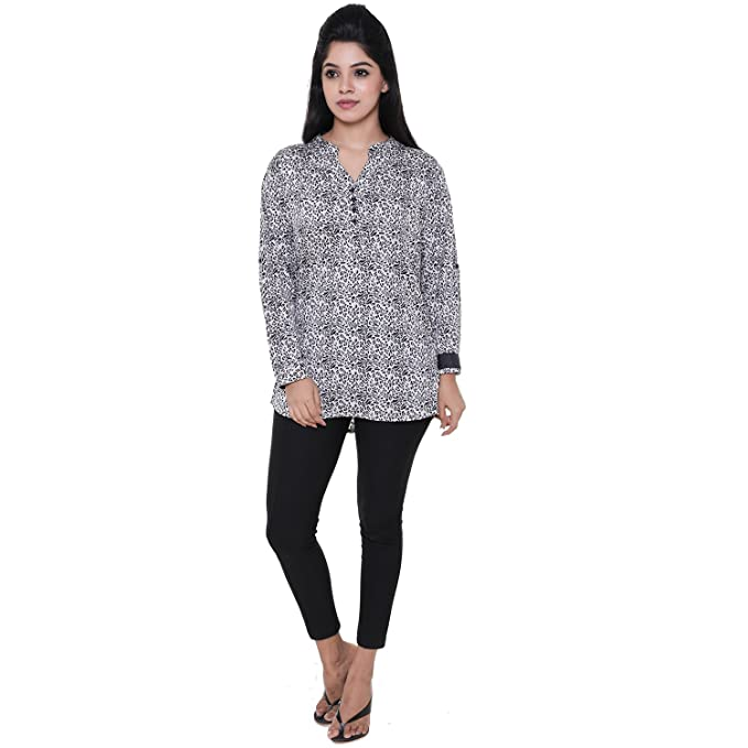 0ffaebea9c Twist Women s Black and White Cheetah Printed Casual Party Wear 3 4th  Sleeve Short Kurti Top with Contrast   Free Shipping  Amazon.in  Clothing    ...