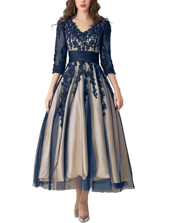 Snowskite Womens Black Lace Applique Tulle Long Formal Evening Dress Navy Blue Plus Size 18