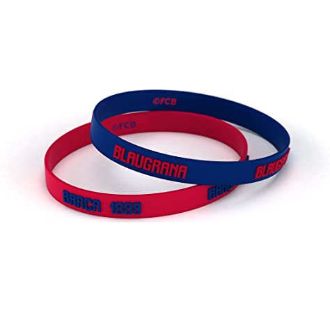 FCB Pulsera Microinjection Azul y Roja, Pulseras de silicona Fútbol Club Barcelona, Producto Oficial: Amazon.es: Deportes y aire libre