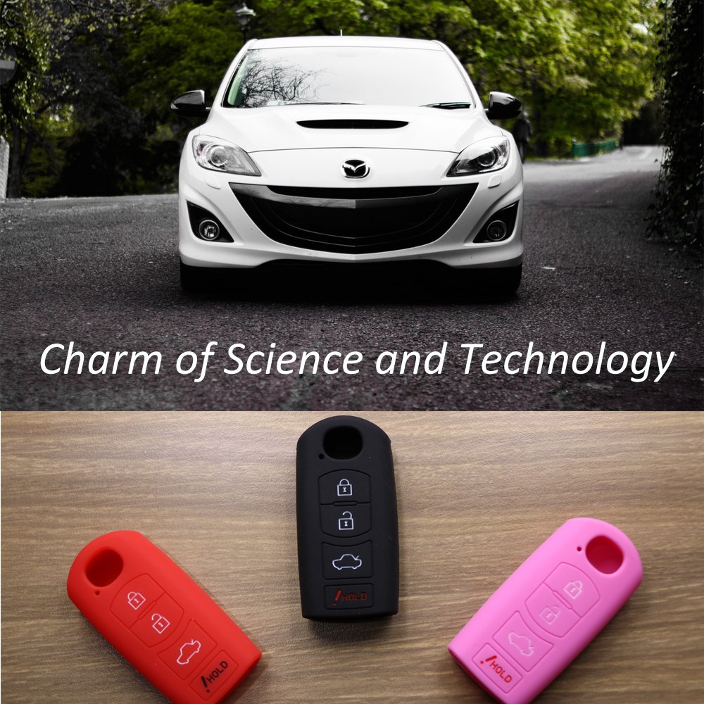 Mokie Silicone 4 Buttons Smart Key Fob Keyless Entry Case Cover Remote Holder Jacket for Mazda 3 6 CX-7 CX-9 MX-5 Red
