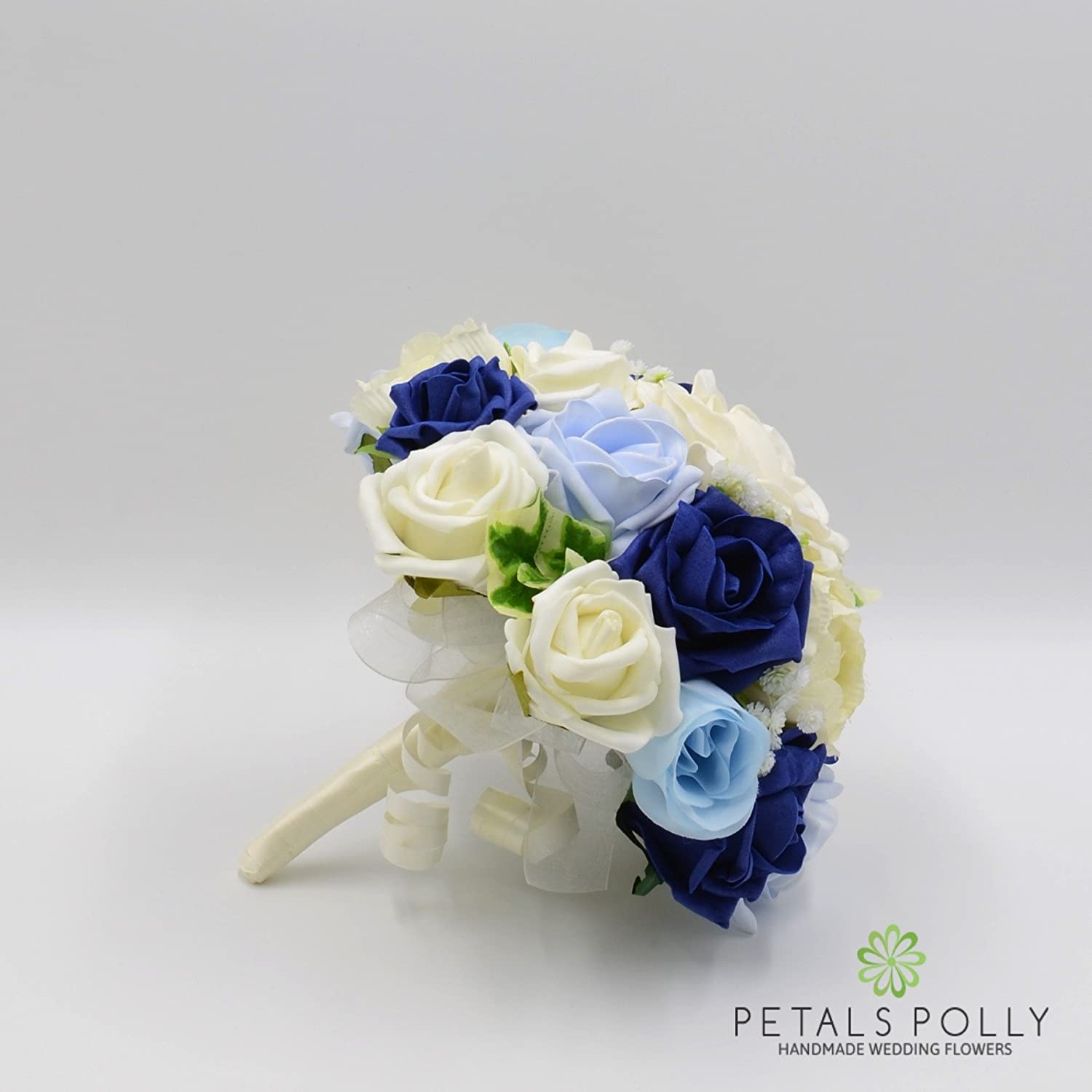 Bridesmaids Posy Navy Blue /& Ivory Roses with Ranunculus Baby Blue Silk Wedding Flowers Hand-Made by Petals Polly