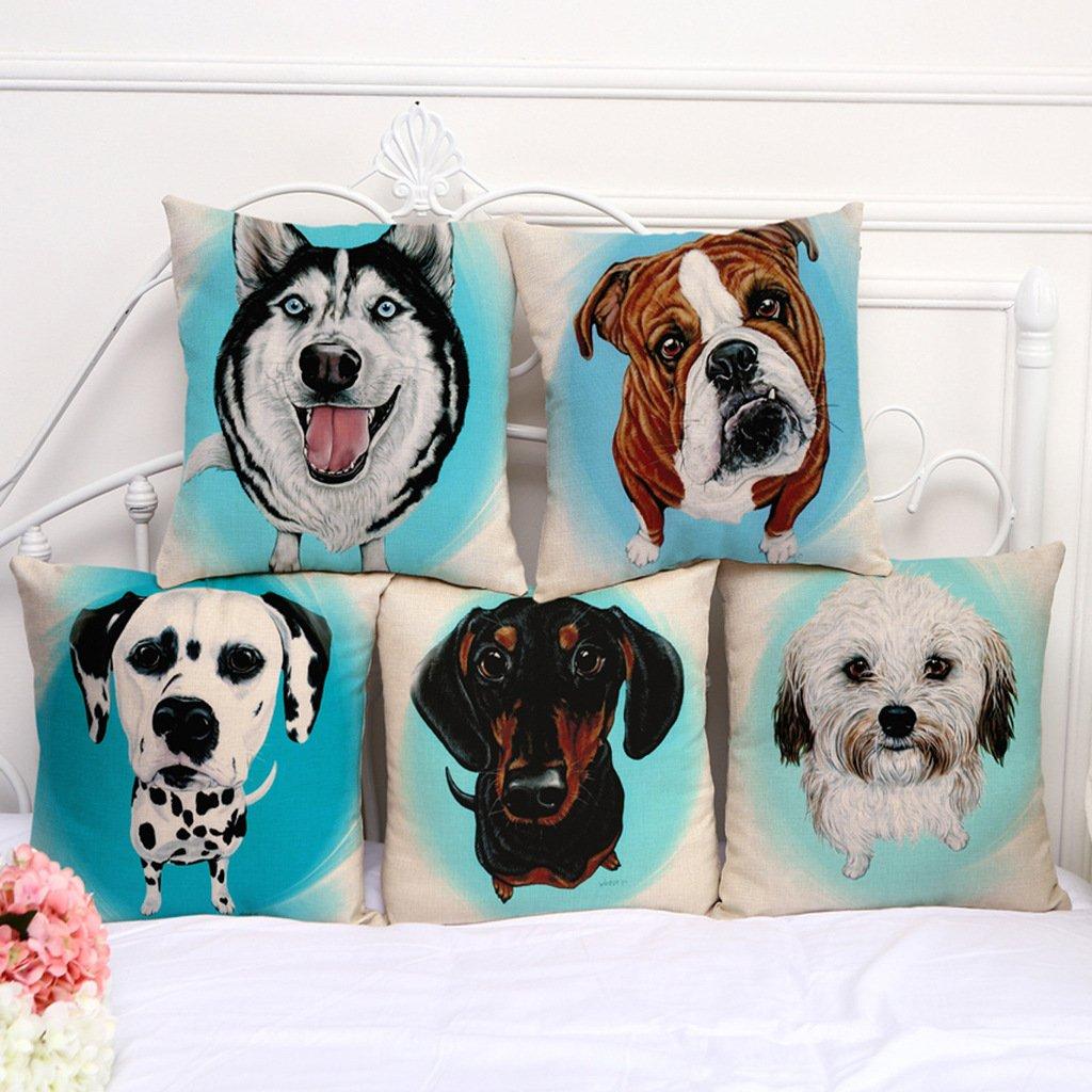 ChezMax Cotton Linen Cushion Cover Cute Dog Pattern Square Decor Pillow Sham Decorative Throw Pillow Case 18 X 18 CM-MY-A1067-005