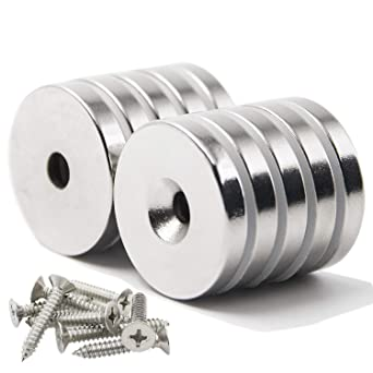 Rare Strong 10 Pack 1.26 Inch X 0.2 Neodymium Disc Countersunk Hole Magnets