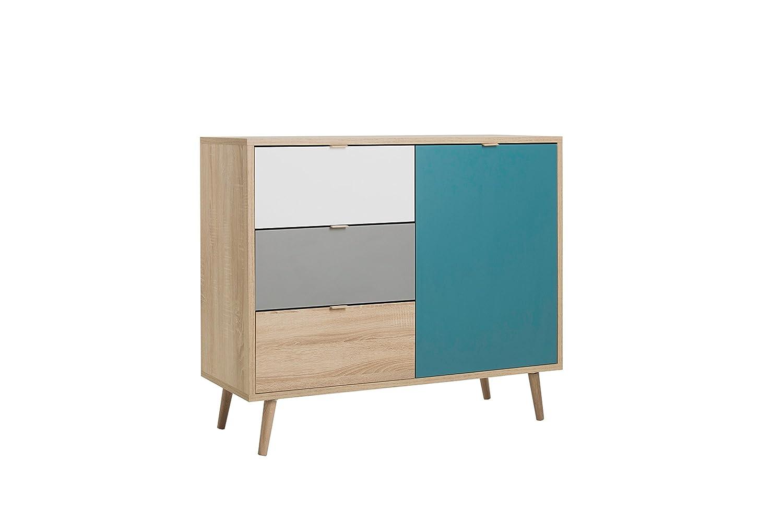 Kommode - Patchwork (B H H H T  ca.  103 x 87 x 40 cm) skandinavisches Design - Vollholzfüße 3ba347