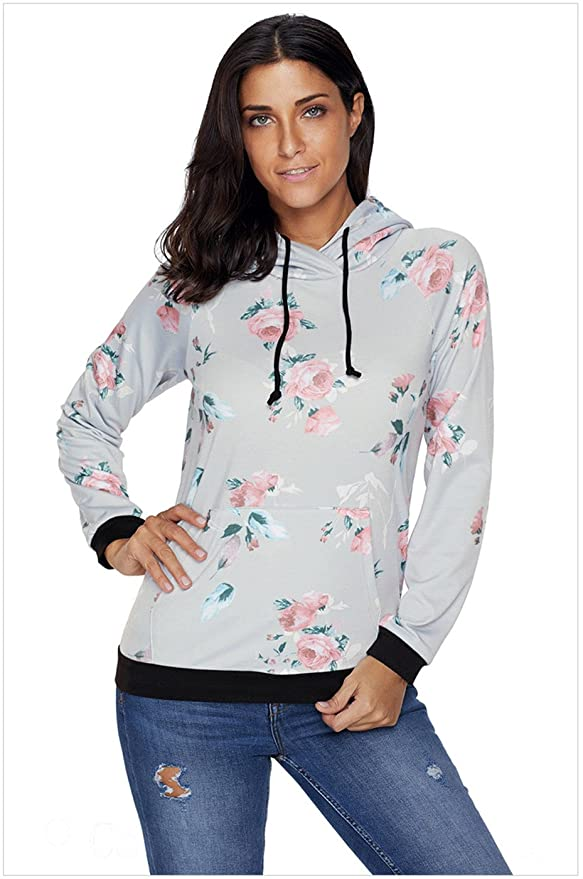 Long Sleeve Hoodie Hooded Hood Floral Printed Kangaroo Pocket Sweatshirt T-Shirt Tee Top at Amazon Womens Clothing store: