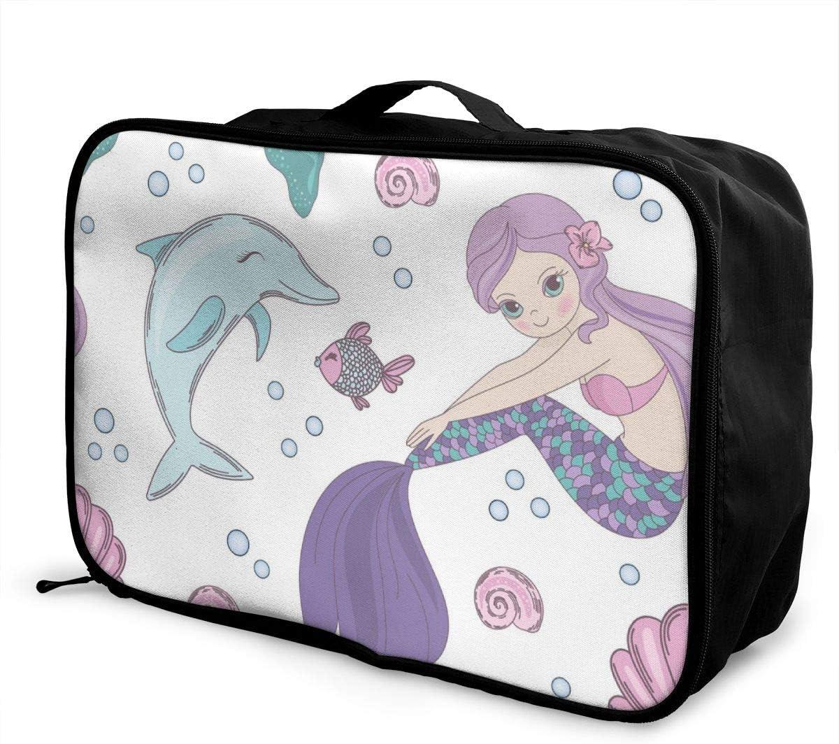 Yunshm Underwater World Mermaid Seamless Pattern Vector Image Customized Trolley Handbag Waterproof Unisex Large Capacity For Business Travel Storage