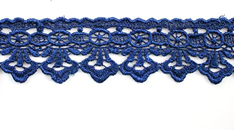 Royal Blue Altotux 2 Embroidered Floral Scalloped Venice Lace Trim Victorian Guipure Sewing Supplies By Yard