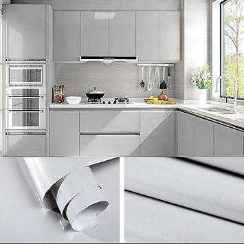 Humtool 10×0,61M Gris Papier Peint Autocollant Rouleau Adhésif Sticker  Mural Etanche pour Armoire Cuisine Meuble Electroménager Carreaux Mur Verre  ...