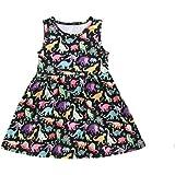 Toddler Baby Girl Dress Dinosaur Printed Sleeveless/Long Sleeve Wedding Party Birthday Skirt Clothes Set
