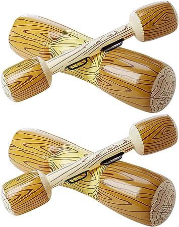 HeySplash Flotador de Piscina Inflable, (2 PZS) Juguetes de Fila con Asiento Gigante de Canoa de Tumbona Barco con Paletas para Niños & Adultos Peso Máximo 143lbs - Grano de Madera