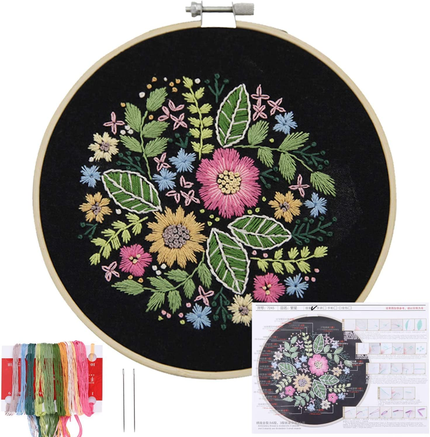 Cross Stitch Needlepoint Craft Kits Color Threads 3-Set Embroidery Kit for Beginners Floral Patterns Embroidery Starter Kit with Patterns Embroidery Cloth and Needles Includes Embroidery Hoops