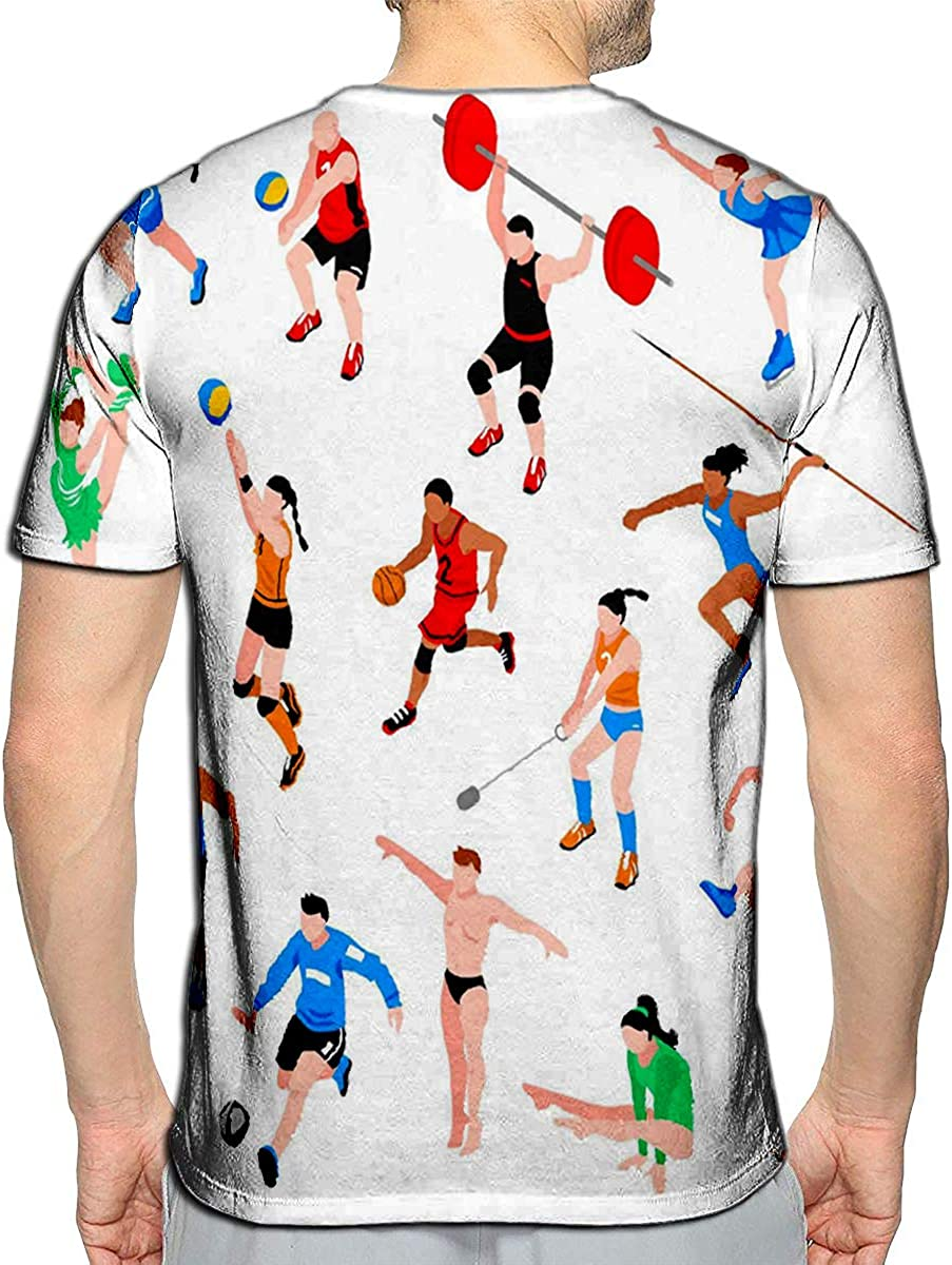 T-Shirt 3D Printed Sport Isometric Set with Sportsmen of Ball Games Throwing Competition Athletics Casual Tees