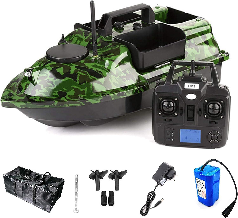 HAN XIU Camuflaje Bait Boat GPS Smart RC Bait Boat GPS Posicionamiento Control Remoto 500m Barco de Cebo con luz de Noche LED,5200mah