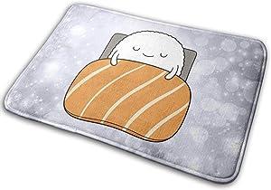 Kawaii Sushi in Bed Casual Welcome Door Mat, Anti-Slip Carpet for Indoor and Outdoor Entrances, Floor Mat Shoe Scraper 15.7
