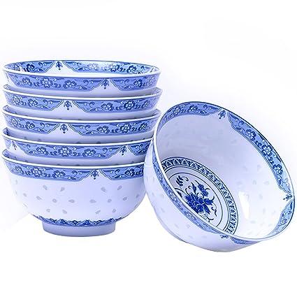 WANWY Azul y Blanco Cuenco de Porcelana Conjunto, harina de Avena, gachas de Avena