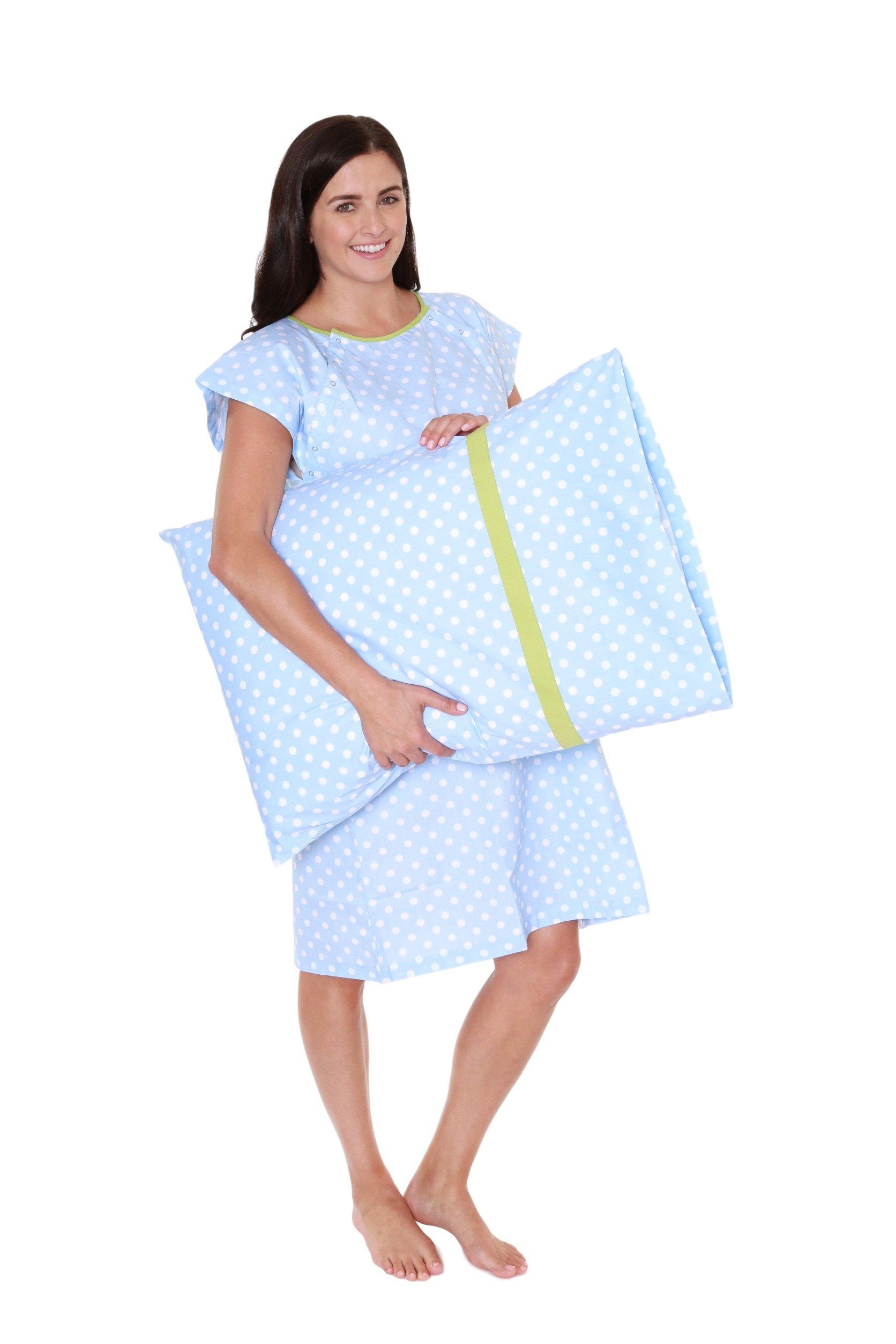 Gownies - Designer Hospital Gown Labor Kit (Small/Medium prepregnancy 0-10, Nicole Gownie with matching pillow case)