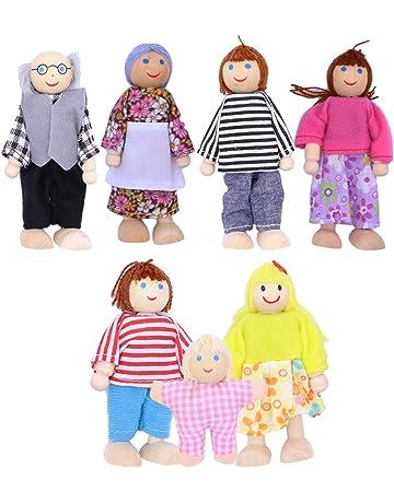 TOYANDONA 7 unids muñecas de Madera Juego de imaginación Conjunto muñecas Familia para niños niños Figura