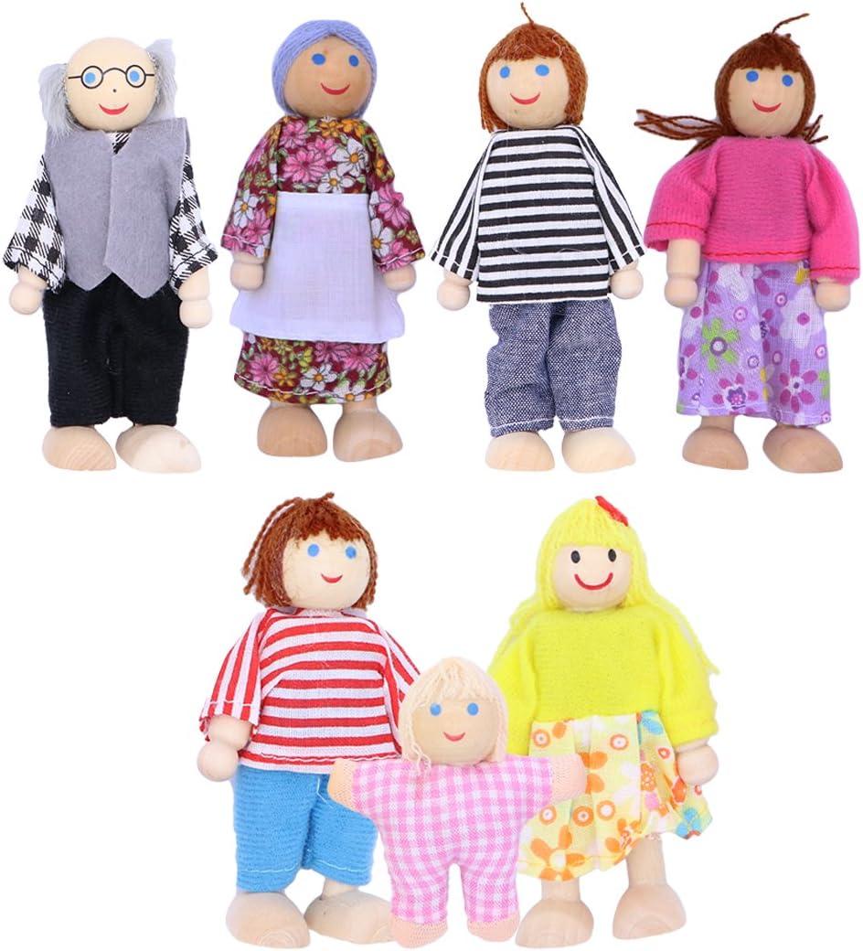 TOYMYTOY Muñecas de Madera Familia Encantadora casa de muñecas Juegos de simulación Accesorios - Set de 7 muñecas