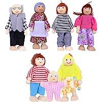 TOYMYTOY 7pcs muñecas de Madera de la Familia