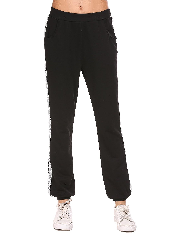 Lucyme Damen Sporthose Freizeithose Lang Sweathose Baumwolle Casual Elastische Yogahosen mit Taschen