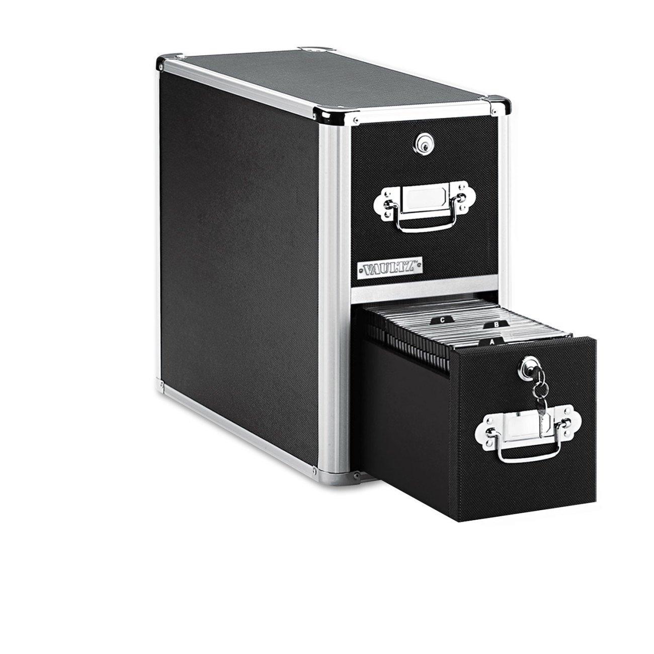 Vaultz Locking CD File Cabinet, 2 Drawers, 8 x 14.5 x 15.5 Inches, Black (VZ01094) by Vaultz
