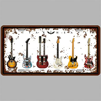 Amazon.com: Guitarra Heaven Retro Vintage Barra de cartel ...