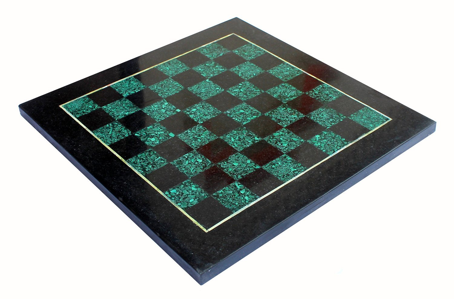 StonKraft 15'' X 15'' Collectible Black Natural Stone + Malachite & Marble Chess Board Without Pieces - Appropriate Wooden & Brass Chess Pieces Chessmen separately availabe by StonKraft Brand by StonKraft (Image #1)
