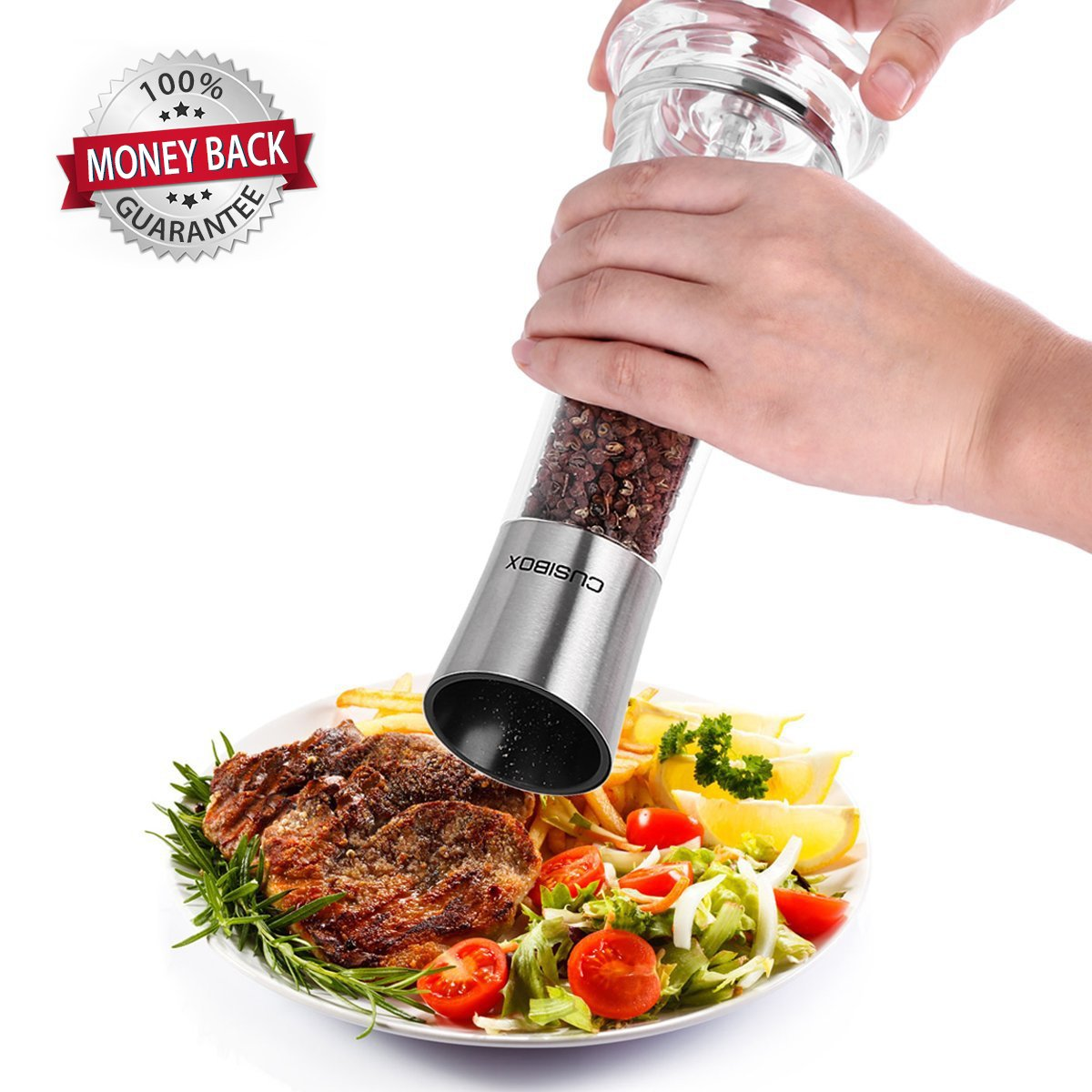 Manual Salt or Pepper Grinder, CUSIBOX Stainless Steel Salt and Pepper Mill Grinder Shaker with Adjustable Coarseness