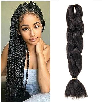 WIGENIUS 5 Pieces Jumbo Braid Synthetic Hair 24 Inches 100g Kanekalon Hair  Braiding Extensions (5PCS, Jet Black)