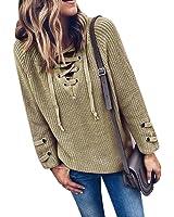 Ularma Damen Khaki V-Ausschnitt Langarm Pullover Bandage Sweatshirt
