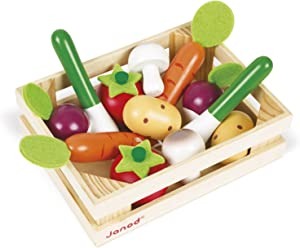 Janod 13Piece Cherry Wood Vegetable & Crate Set Play Kitchen Accessory for Pretend Play & Imagination Ages 3+